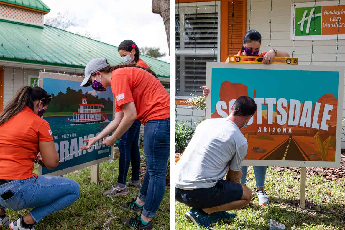 Left: Three HICV Team Members help setup the festive decor outside of their Villa at Give Kids the World. Right: Two other HICV Team Members setup a giant postcard outside of their Villa at Give Kids the World.
