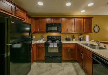 Large kitchen in a two-bedroom ambassador villa at the Hill Country Resort in Canyon Lake, Texas.