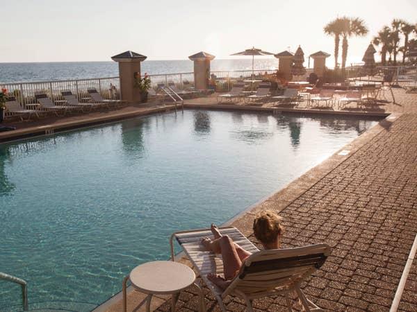 Resort pool overlooking beach at Panama City Beach Resort in Florida.