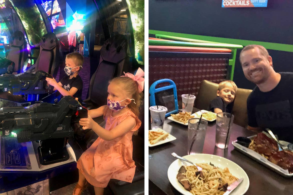 Left: Brianna's Children wear safety masks as they play arcade racing games at Dave & Buster's - Myrtle Beach. Right: Brianna's husband and son enjoy a meal at Dave & Buster's - Myrtle Beach.