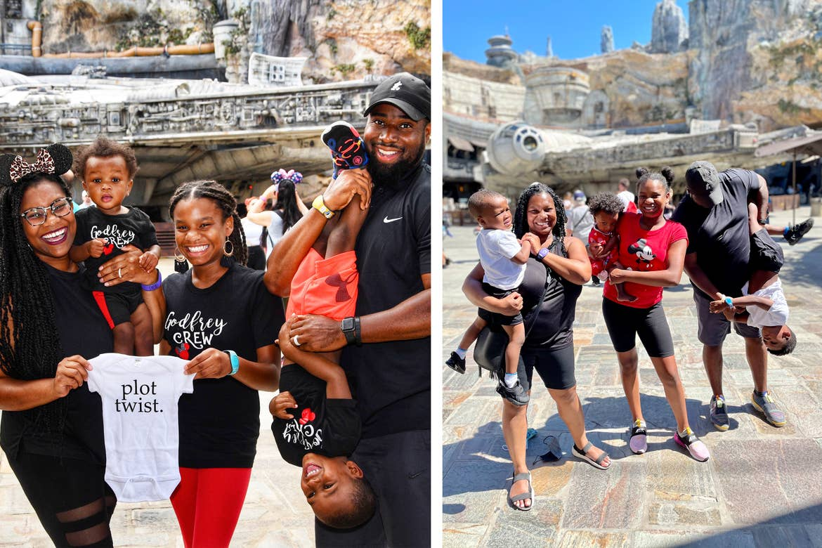 Left: The Godfrey Family stand wearing black shirts and hold a white baby onesie that reads, 'Plot Twist' in front of the Millenium falcon at Walt Disney World. Right: The Godfrey family recreates the photo with Creed.