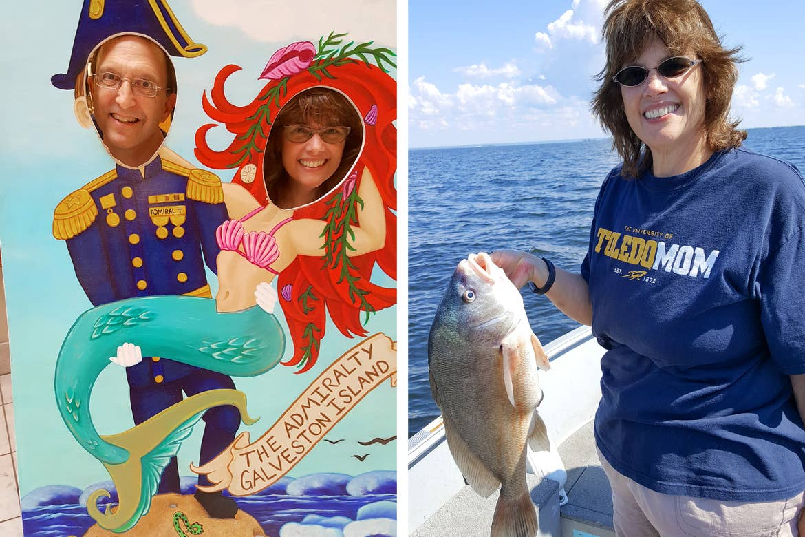 Left: A caucasian man (left) and woman (right) pose in a cutout of a ships Admiral and a mermaid near a sign that reads, 'The Admiralty of Galveston Island.' Right: A caucasian woman stands on a boat holding a fish.