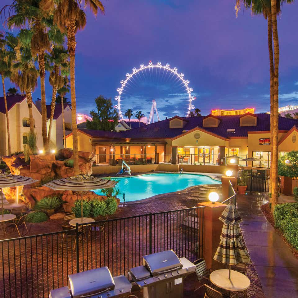View of the LINQ High Roller from Desert Club Resort in Las Vegas