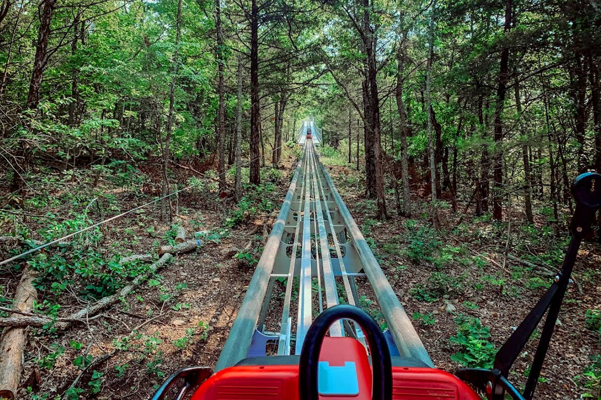 A mountain coaster vehicle sits on a track under tall oak trees.