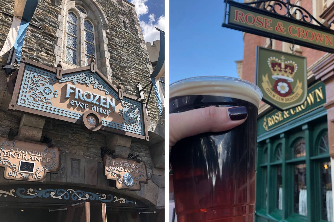 Left: The exterior of the 'Frozen Ever After' ride queue in the Norway Pavilion in EPCOT World showcase at Walt Disney World Resort. Right: A woman's holds a Guinness in her hand by the Rose & Crown sign in the England Pavilion in EPCOT.
