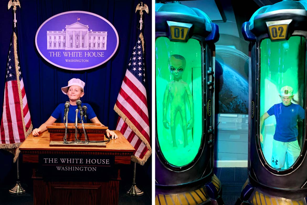 Left: A boy stands near a replica of the White House Press podium. Right: A boy and an alien stand in containers.