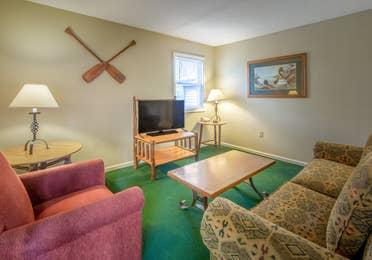 Living room in a Suite at Oak n' Spruce Resort in South Lee, Massachusetts