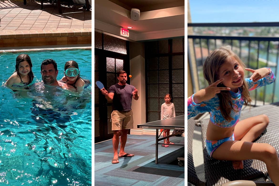 Left: Two young caucasian girls are held by a caucasian male underwater in a resort pool. Right: A caucasian male and young caucasian girl play ping pong indoors. Right: A young caucasian girl sits in swimwear on a resort balcony.