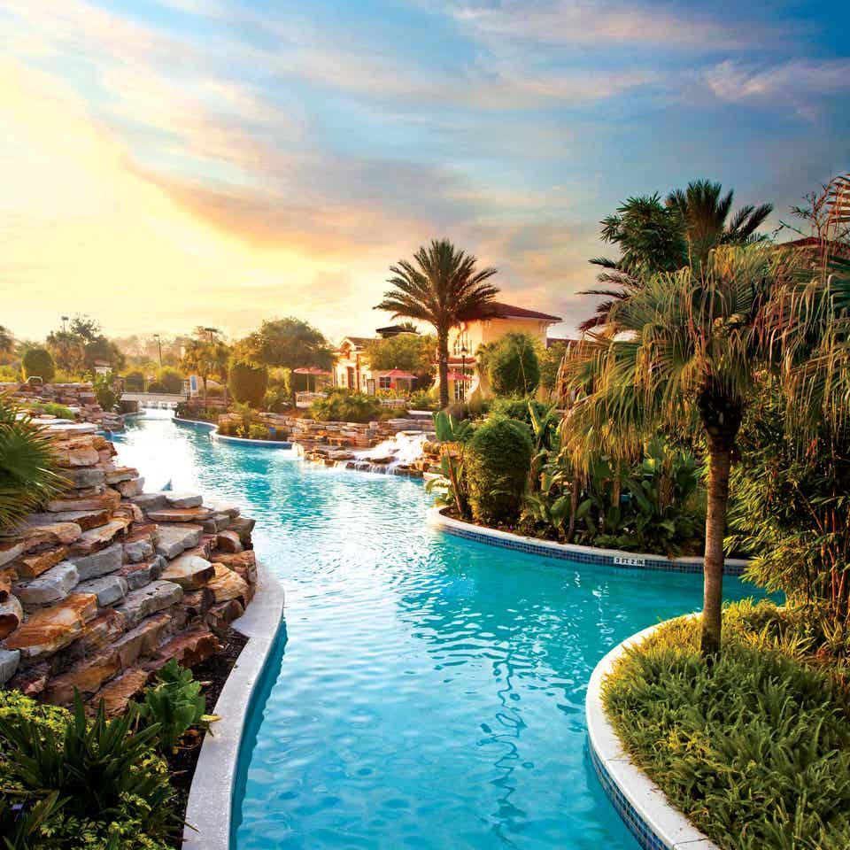 View of lazy river at sunset in River Island at Orange Lake Resort near Orlando, Florida