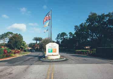 Property sign and entrance to Orange Lake Resort near Orlando, Florida
