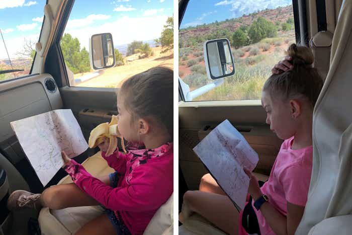 Left: Kyler learns to read a map in the front seat as a navigator. Rightt: Kyndall learns to read a map in the front seat as a navigator.