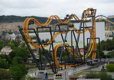 Batman The Ride at Six Flags near Hill Country Resort in Canyon Lake, Texas