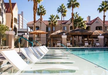 Sun chairs in lounge pool at Desert Club Resort in Las Vegas, Nevada