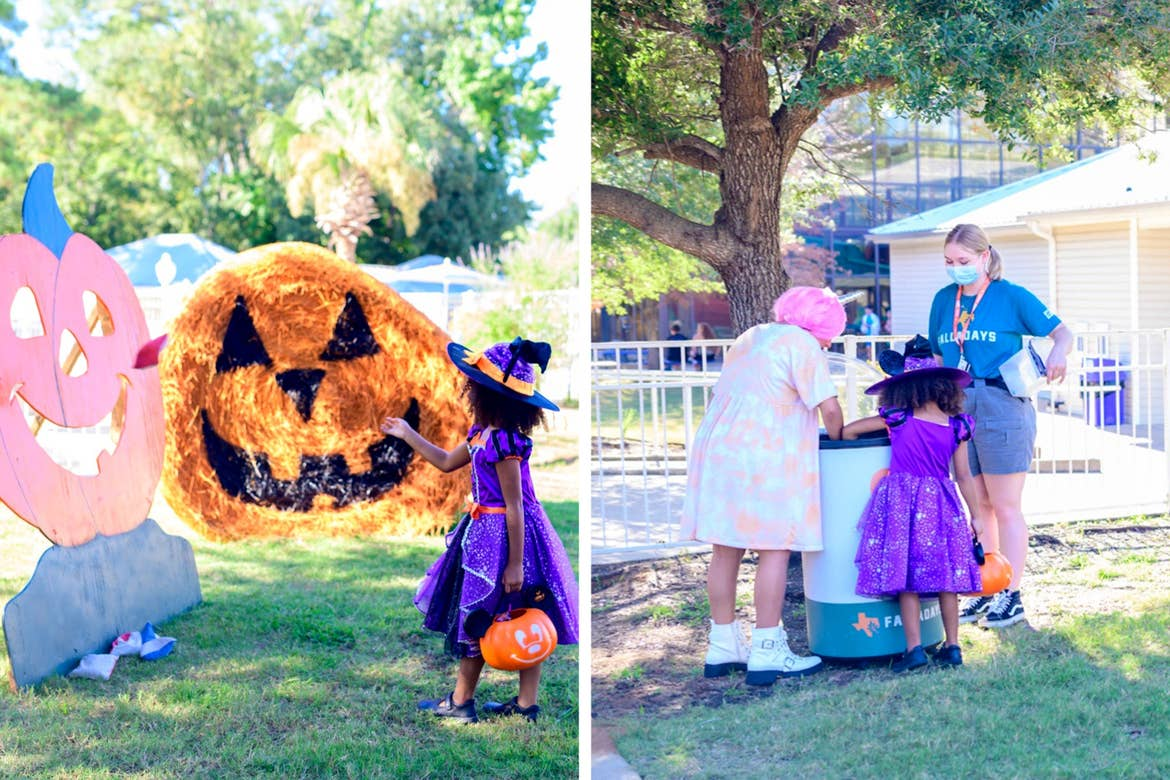 Left: A young girl in a purple witch costume plays a game of cornhole. Right: Two young girls in costume gather candy from a female team member.