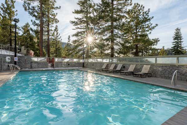 An outdoor pool at Tahoe Ridge Resort in Stateline, NV