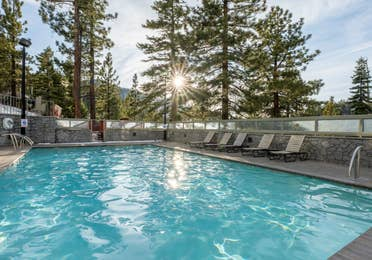 An outdoor pool at Tahoe Ridge Resort in Stateline, NV