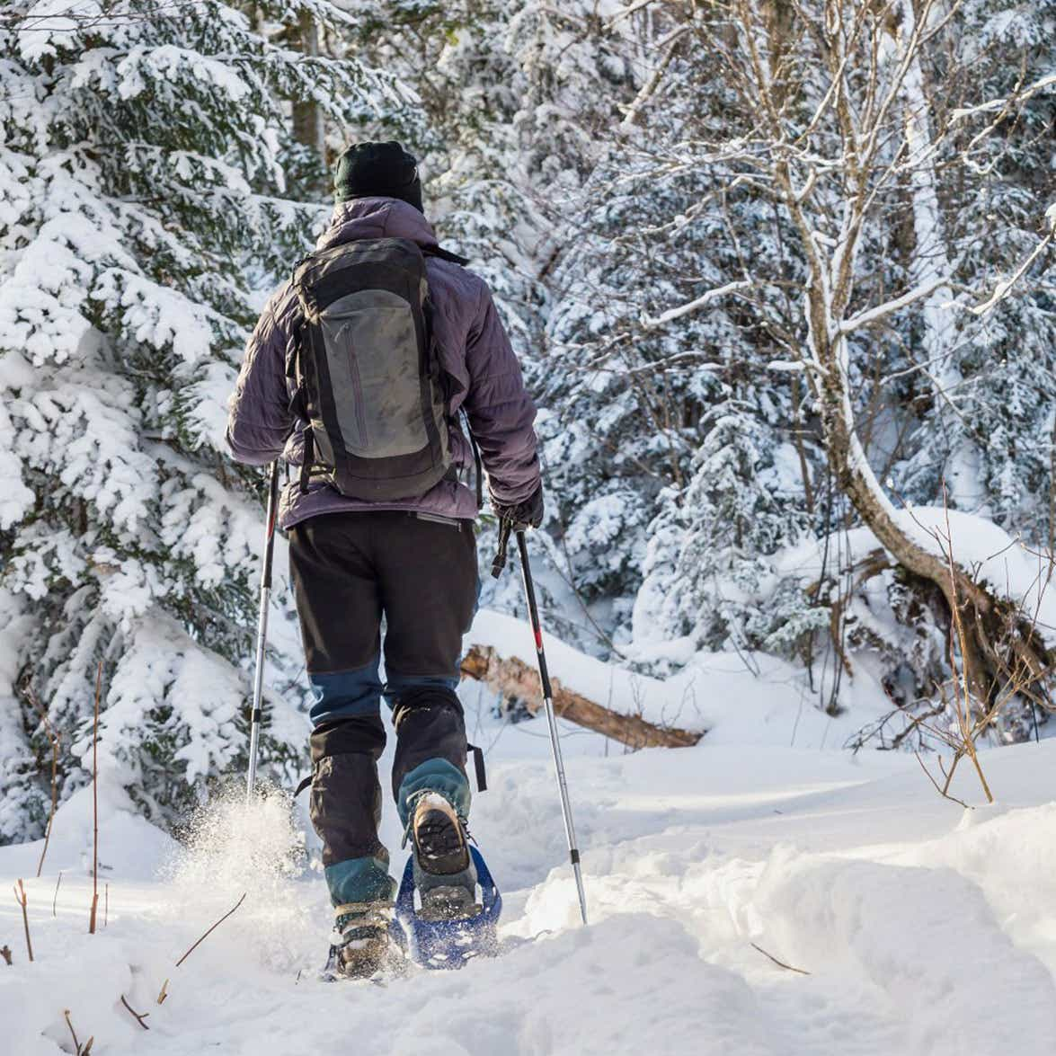 A person in winter gear snow shoeing