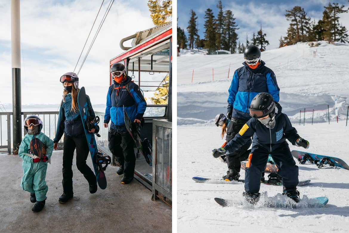 Left: Andrea Rassmussen (middle) and her husband and daughter emerge from the Skier Express gondola in Snowboarding gear. Right: Andrea's family makes their way down the snowy slopes in their snowboard gear.