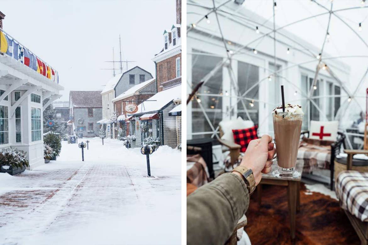Left: Snow-covered township of Newport, RI. Right: A man wearing a khaki jacket holds a hot chocolate in an igloo containing furnishings and string lights.