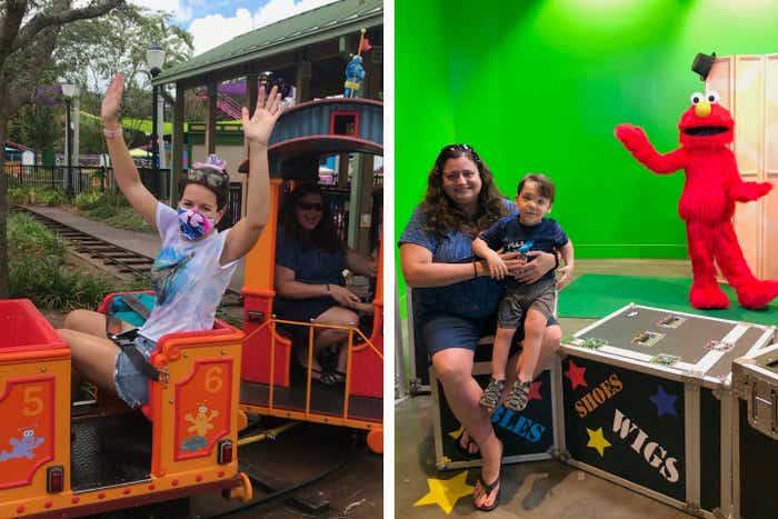 Left: Jennifer Harmon rides Elmo's Choo Choo Train with Theresa as they wear masks. Right: Theresa and Dakota sit in the foreground while Elmo poses in back.