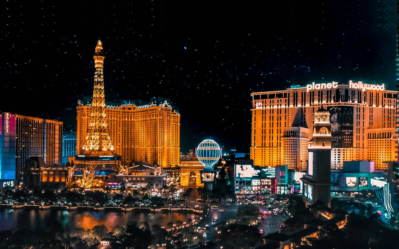 View of Vegas skyline near Desert Club Resort.