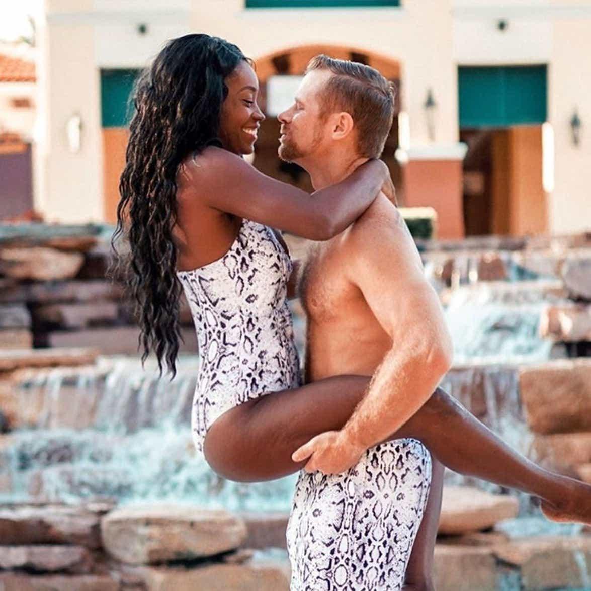 Kevin holding Sally up at the Orange Lake Resort pool