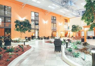 Atrium in reception building in West Village at Orange Lake Resort near Orlando, Florida