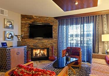 Living room in a one-bedroom Signature Villa at Desert Club Resort in Las Vegas