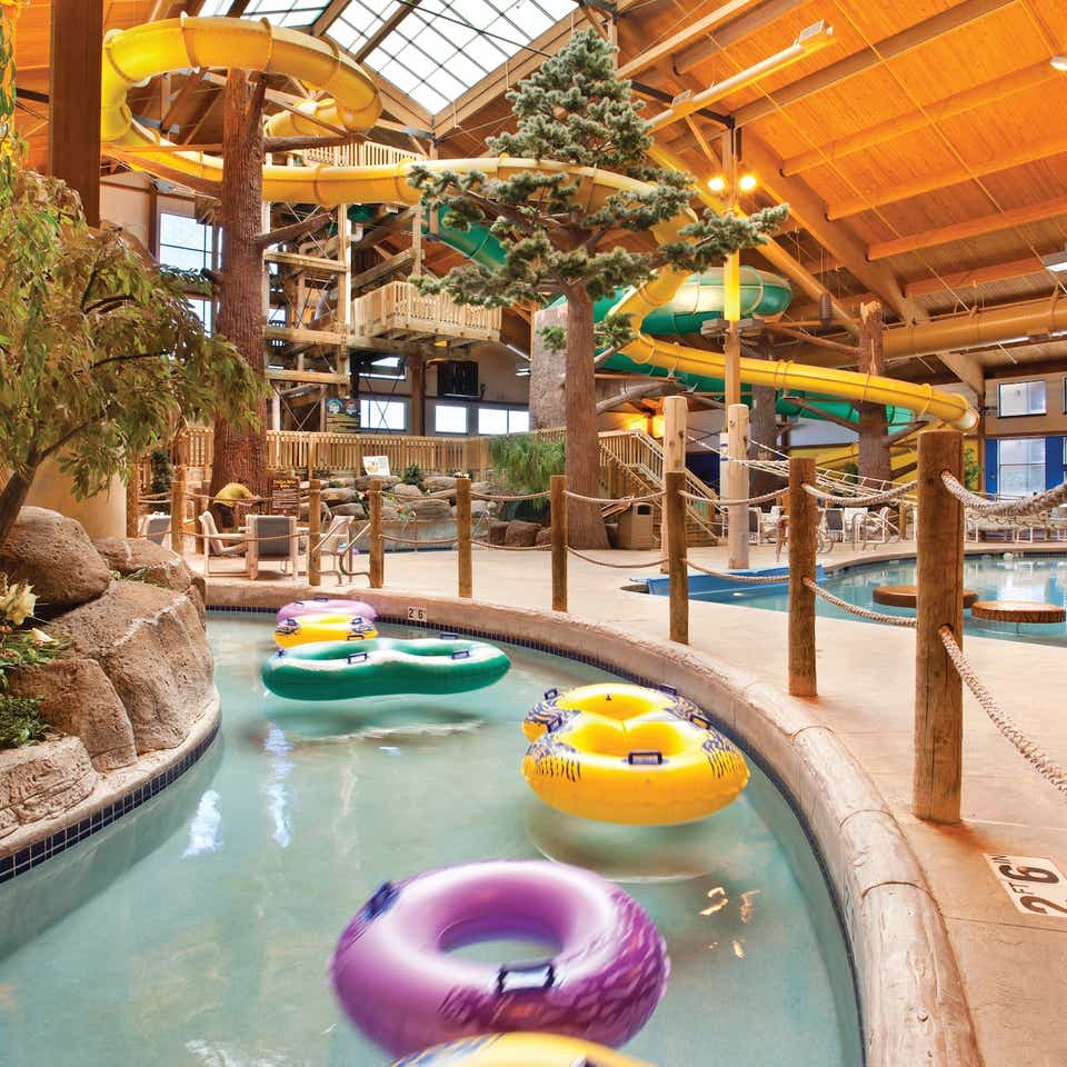 Waterpark with lazy river and waterslides at Lake Geneva Resort in Wisconsin.