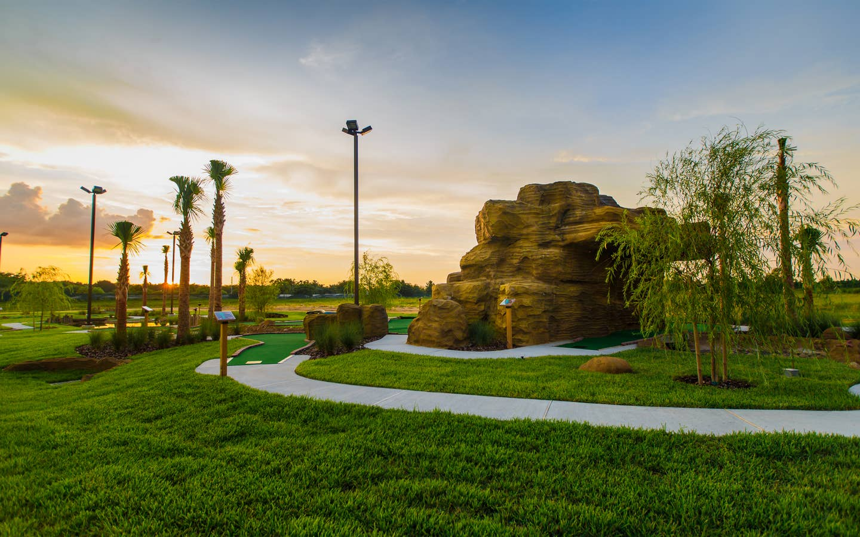 Outdoor mini golf course at Orlando Breeze Resort in Orlando, Florida.