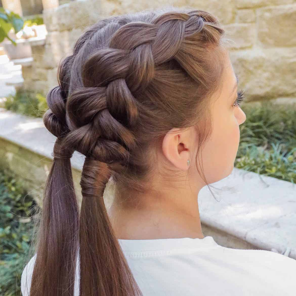 Mindy's daughter, Kamri, sporting the dutch-braid hairstyle from the back.
