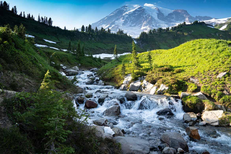 The top of Myrtle Falls, Mount Rainier National Park