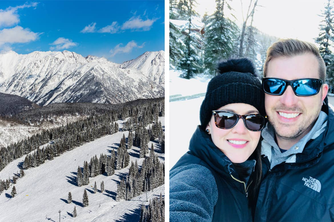 Left: Snow-capped mountain range of Vail, CO under a blue sky. Right: Co-contributor, Jenn C. Harmon (left), wears a knit hat, jacket and sunglasses next to her husband also in a black jacket and sunglasses outdoors in the snow.