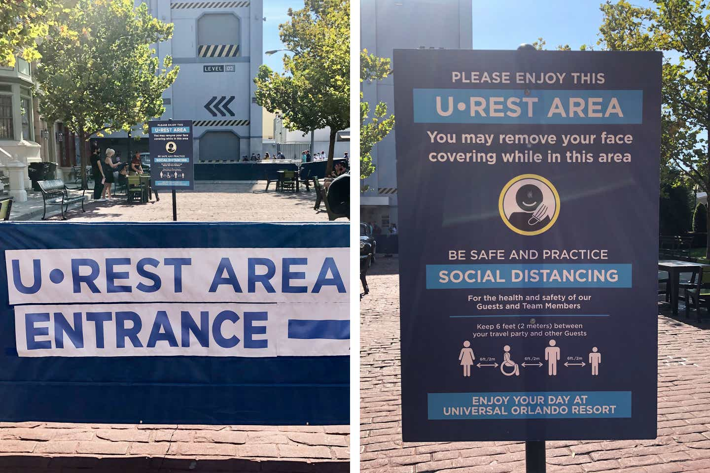 Left: Way-finding sign indicating the direction of the 'U•REST Area' entrance. Right: 'U•REST Area' signage that indicates social distancing rules within the area being enforced.