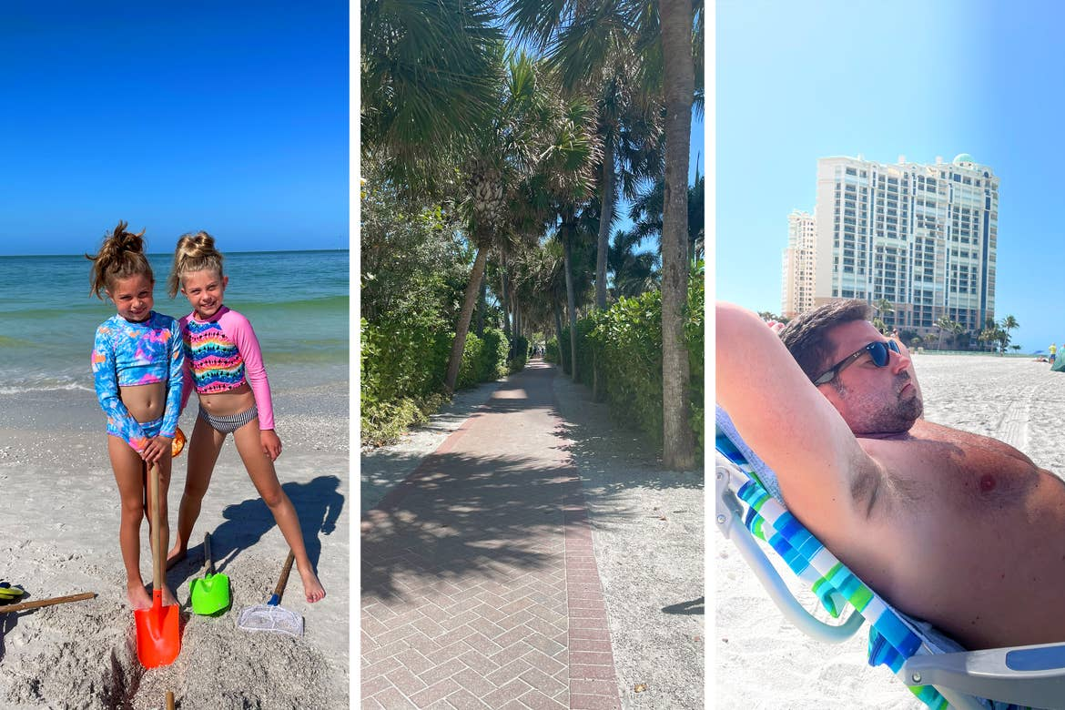 Left: Two caucasian girls stand on a white sandy beach in front of the ocean. Center: A brick-paved pathway surrounded by palm trees and bushes. Right: A caucasian man relaxes in a lounge chair on a beach.