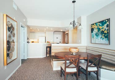 Dining room area with six seats in a villa in River Island at Orange Lake Resort near Orlando, Florida