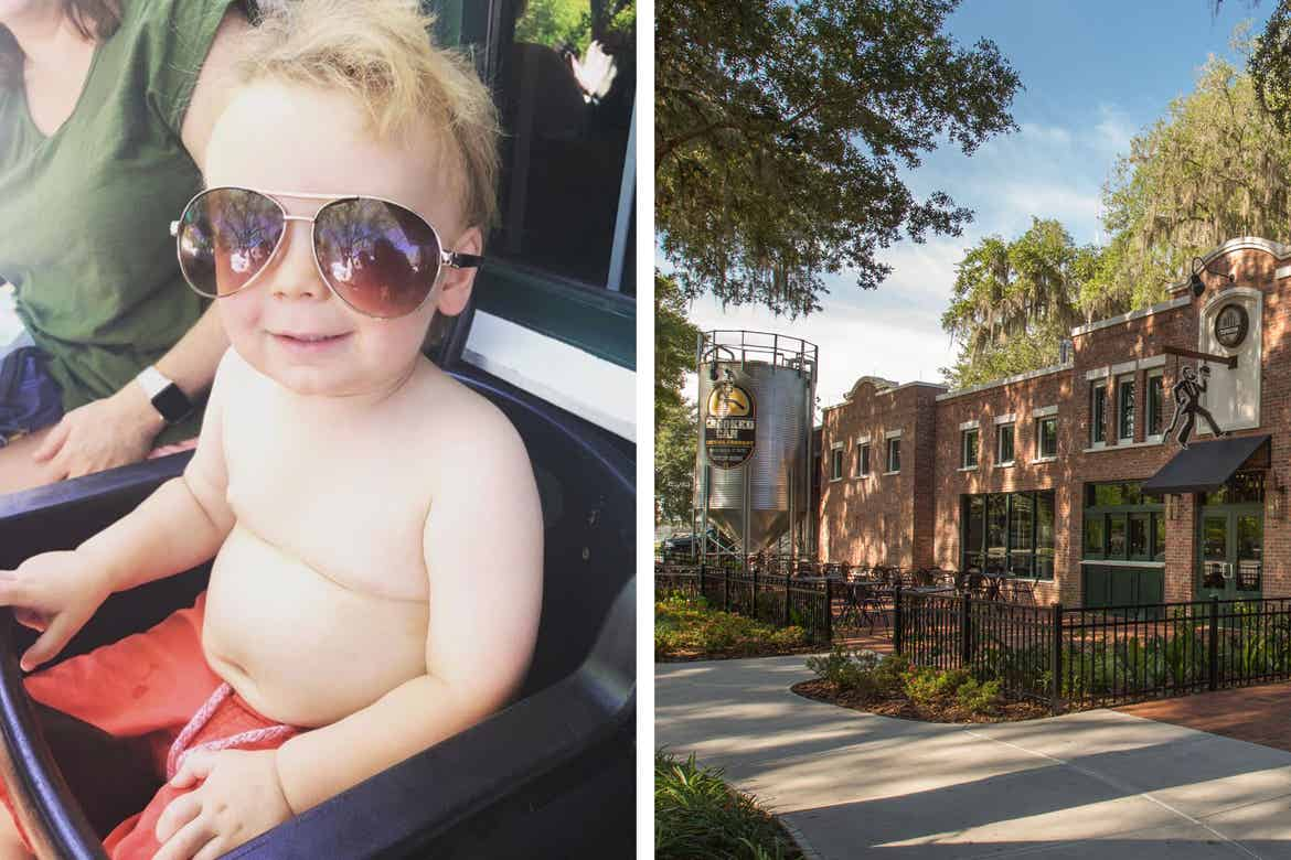Left: An infant wears orange shorts while wearing sunglasses in a booster seat outdoors. Right: Brick building exterior of with fermenter decal that reads, ''Crooked Can Brewing Company''.