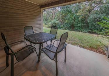 Balcony in a villa at Holly Lake Resort in Holly Lake Ranch, Texas.