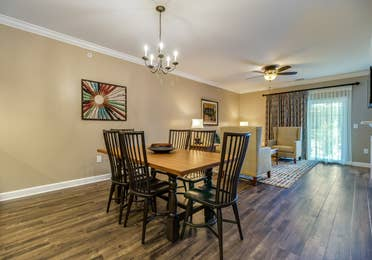 Dining room in a two-bedroom villa at Williamsburg Resort