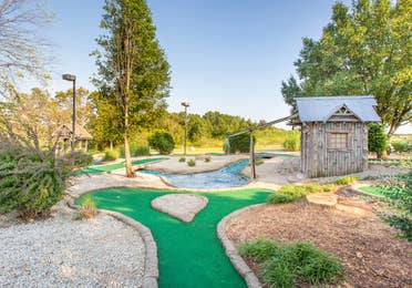 Outdoor mini golf course at Timber Creek Resort in De Soto, Missouri.
