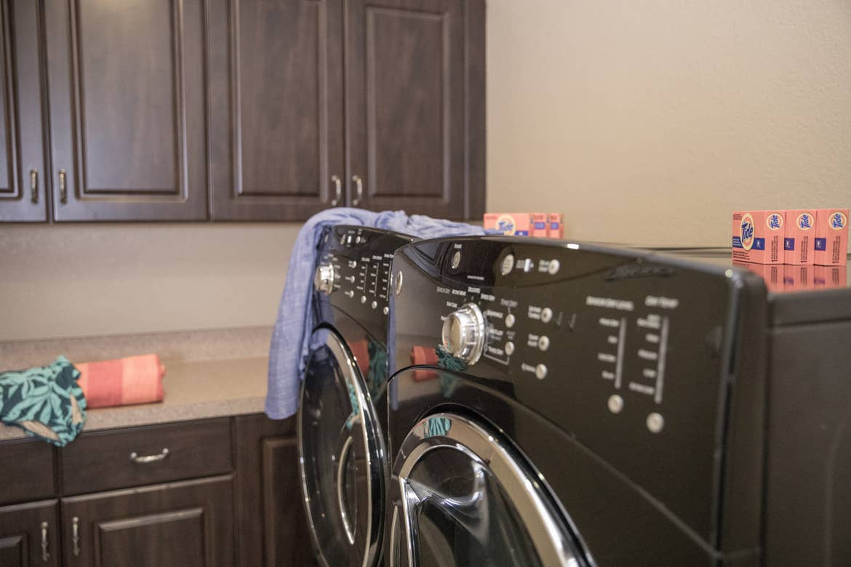 Closeup of in-unit washer and dryer in a Signature villa in River Island at Orange Lake Resort near Orlando, Florida.