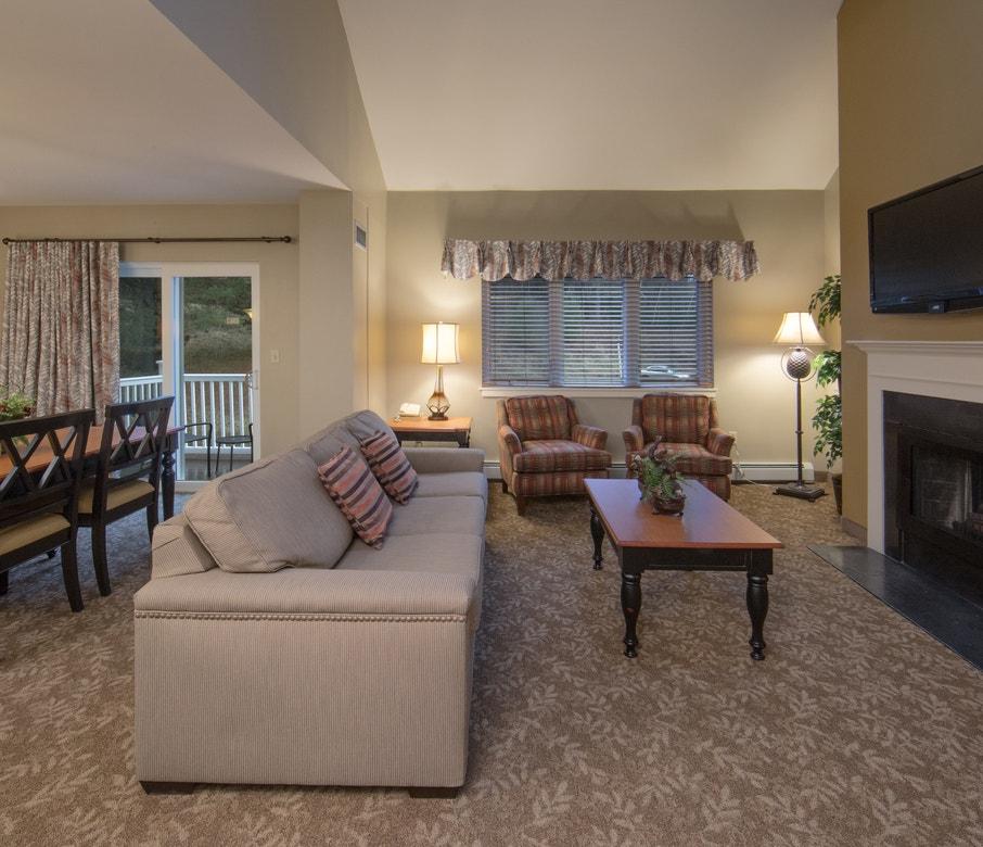 Living room in a three-bedroom villa at Mount Ascutney Resort in Brownsville, VT