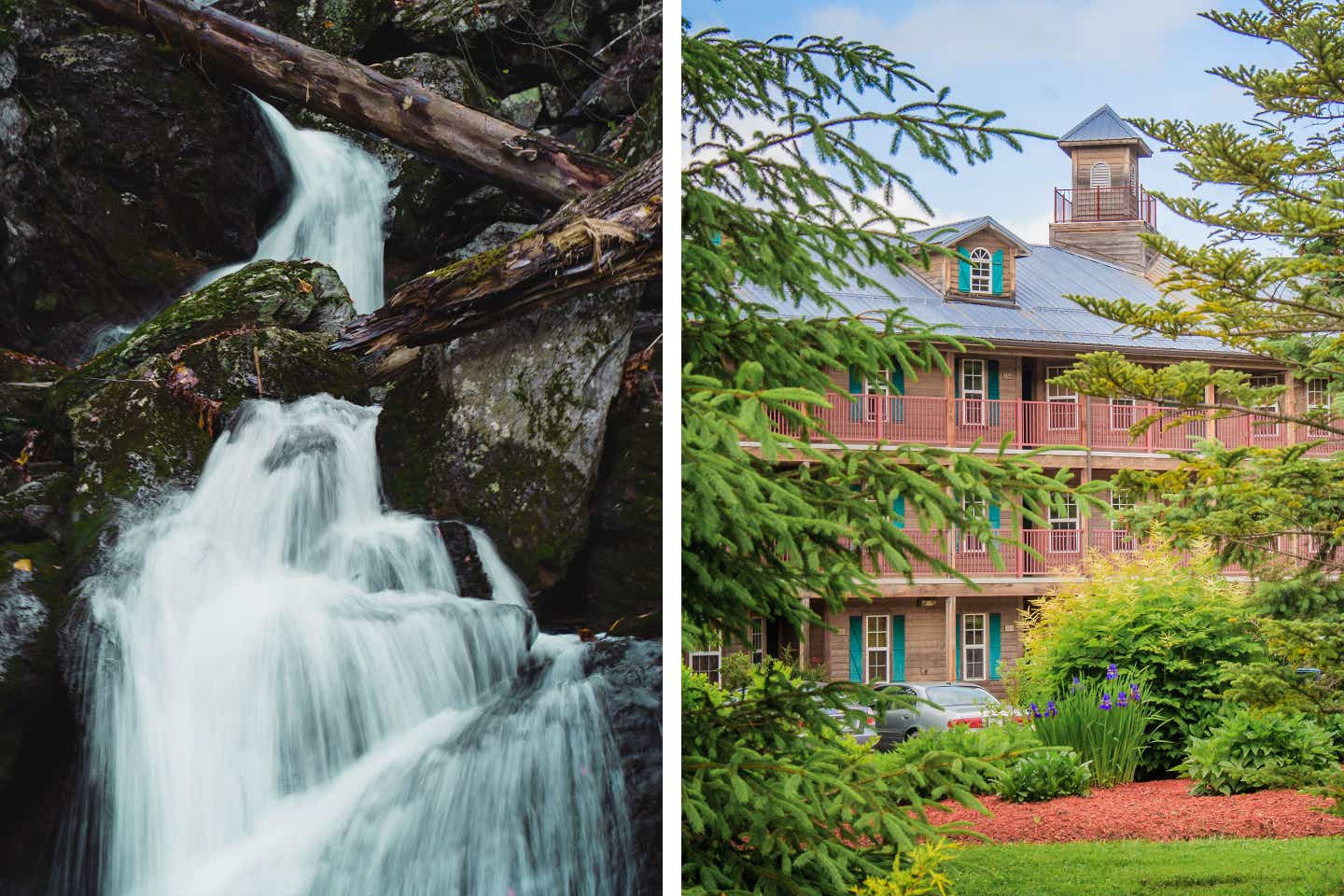 Left: A long-exposure shot of the Bish Bash Falls waterfall. Right: And exterior shot of our Oak n' Spruce Resort.