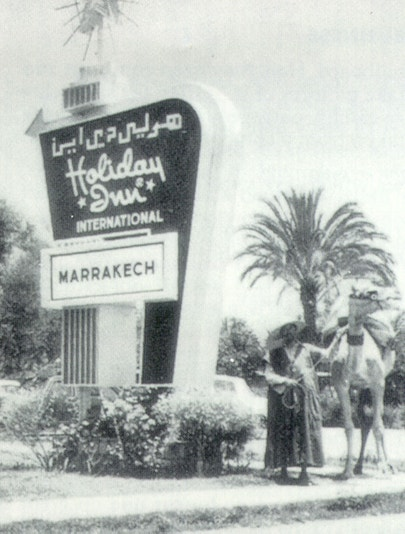 Holiday Inn sign in Marakesh, Morocco in the 1970s
