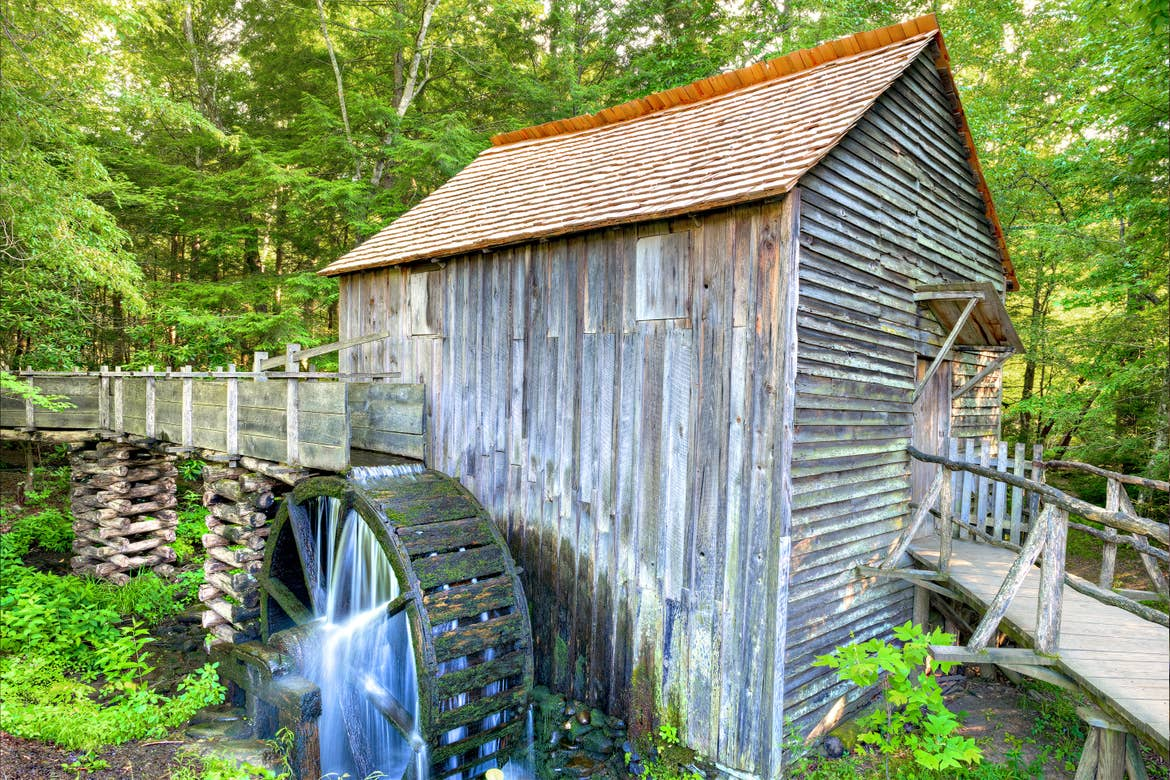 An old grist Mill can be found amongst the lush scenery of Cades Cove
