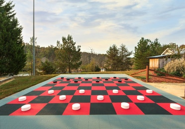 Oversized checkerboard at Apple Mountain Resort in Clarkesville, GA