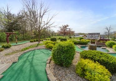 Outdoor mini golf course at Fox River Resort in Sheridan, Illinois