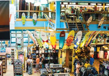 Colorful surfboards inside Ron Jon Surf Shop in Cocoa Beach, FL