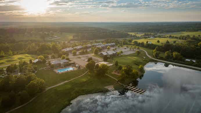 Aerial view of Timber Creek Resort in De Soto, MO