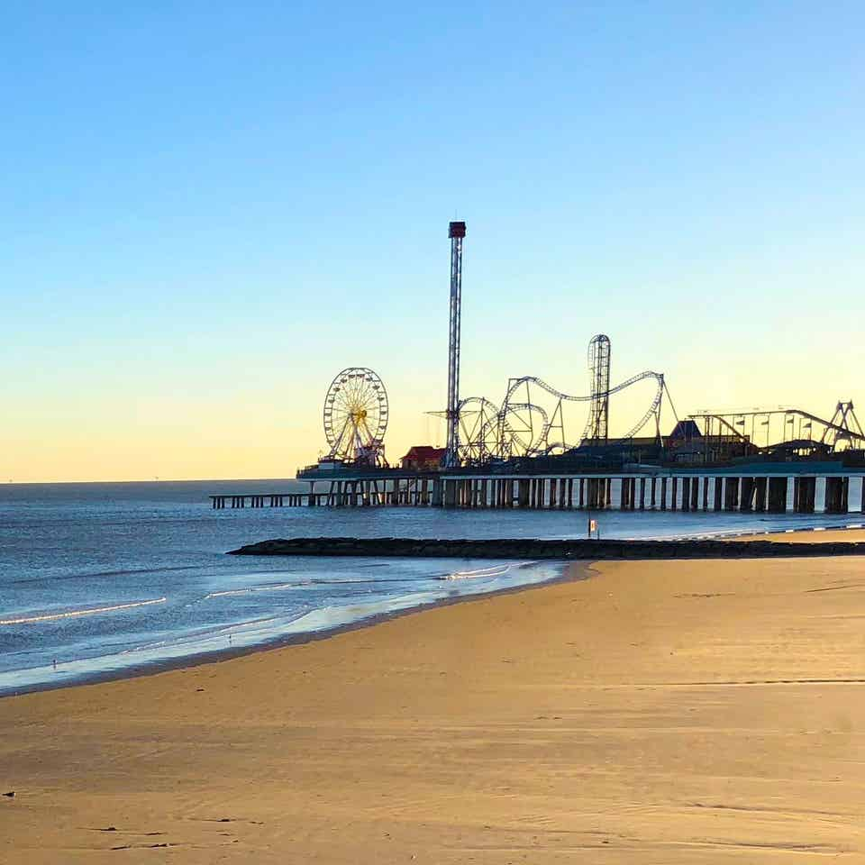 A view of Pleasure Pier near Galveston Seaside Resort.